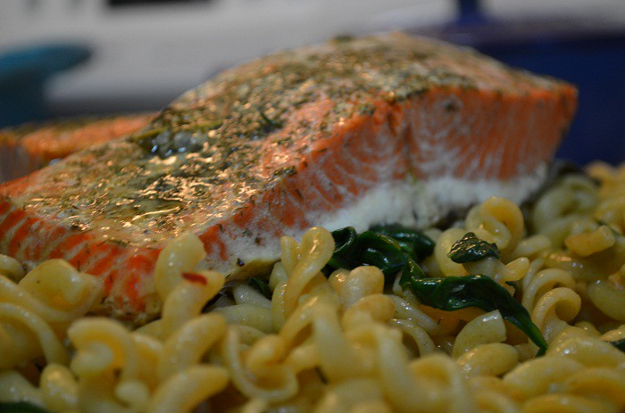 Salmon on Top of Pasta | My Halal Kitchen