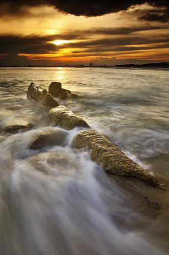 sunset color beach landscape golden splash kuantan pahang pantai tembeling