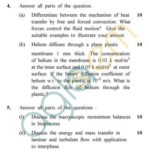 UPTU B.Tech Question Papers - BT-805 - Transport Phenomena