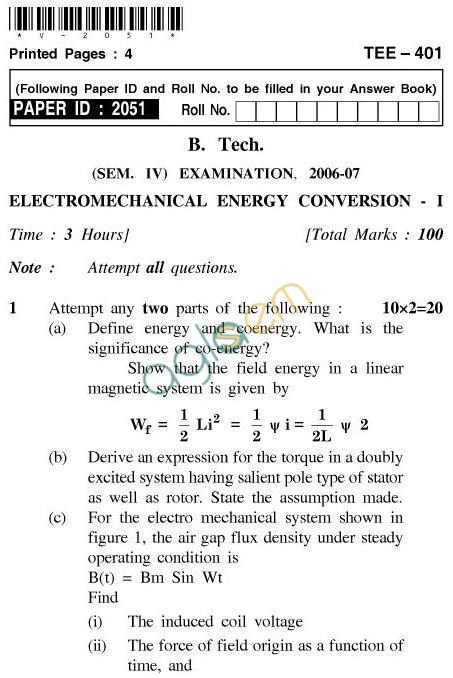 UPTU B.Tech Question Papers - TEE-401-Electromechanical Energy Conversion – I