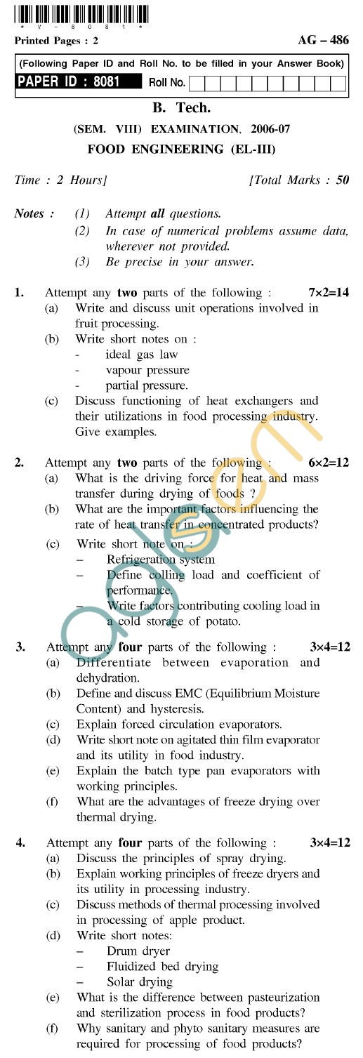 UPTU B.Tech Question Papers - AG-486 - Food Engineering (EL-III)