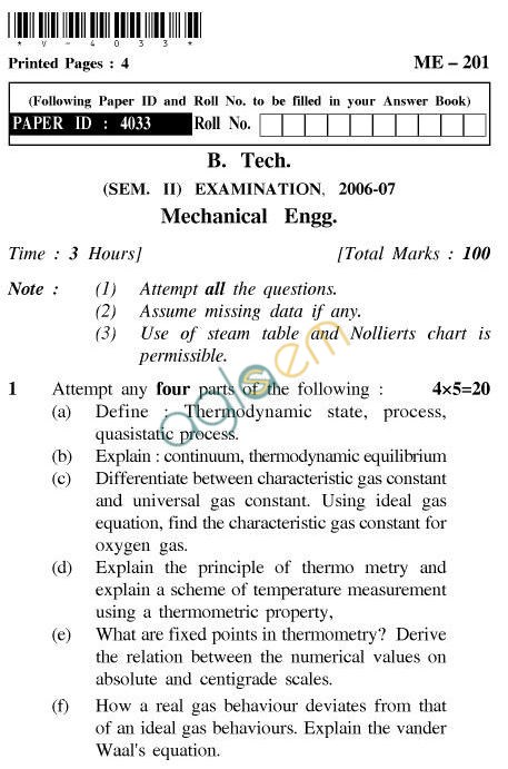 UPTU: B.Tech Question Papers - ME-201 - Mechanical Engineering