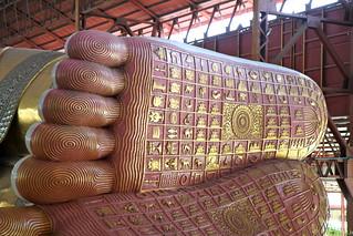 Image of  Paya Chaukhtatgyi  near  Yangon. travel feet buddha yangon burma myanmar soles chaukhtatgyipaya