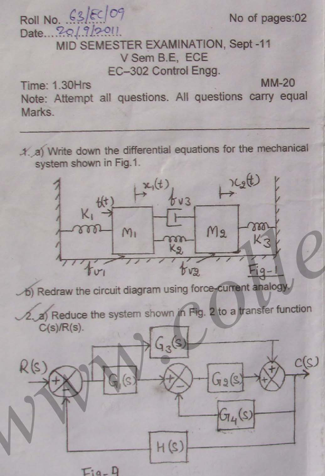 NSIT: Question Papers 2011 – 5 Semester - Mid Sem - EC-302