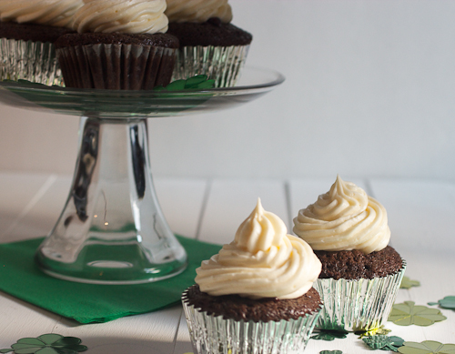 Chocolate Stout Cupcakes with Baileys Ganache and Jameson Frosting