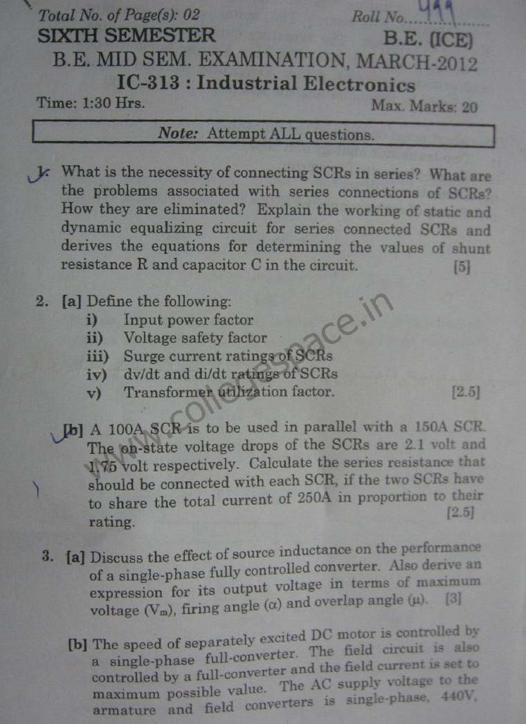 NSIT Question Papers 2012 – 6 Semester - Mid Sem - IC-313