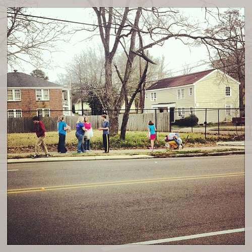 Homeschoolers pick up trash in the We Will Go neighborhood. #wewillgo #homeschoolers #lifeatwewillgo #missionarykids #trashpickup
