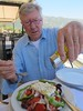 Enjoying a Greek salad on the island of Corfu