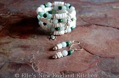Heishi Bead Bracelet and Earrings