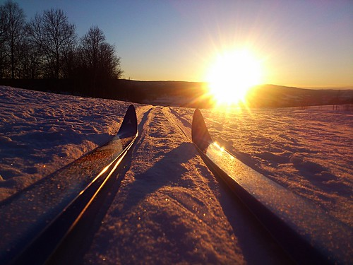 Skiing at sunset