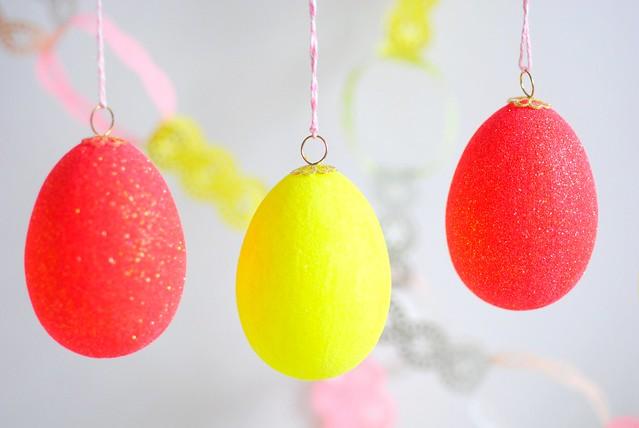 Neon glittered eggs