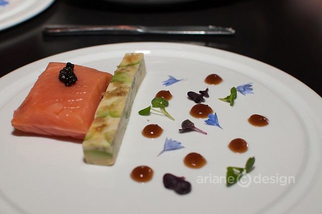 Smoked Skuna bay salmon, maple matured sherry bourbon oak vinegar, avocado terrine