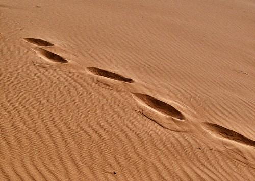 footprints in desert sand