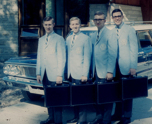 Ambassador Quartet -Dave Biberstein,Phil Logan,Dave Brown, Jay Platte 1965 front of Lexington Dorm