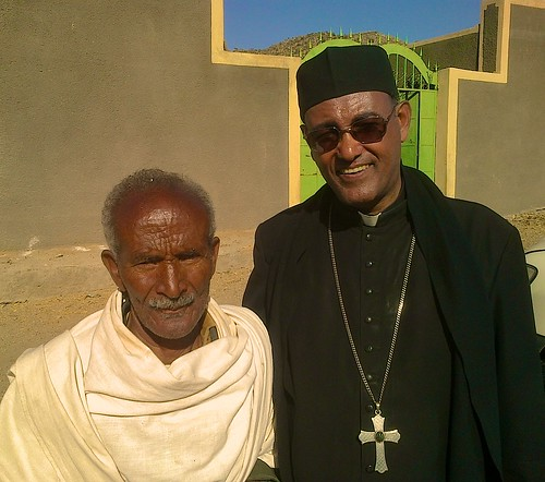 2013 - Abune Tesfaselassie with one of the elders outside the parish building