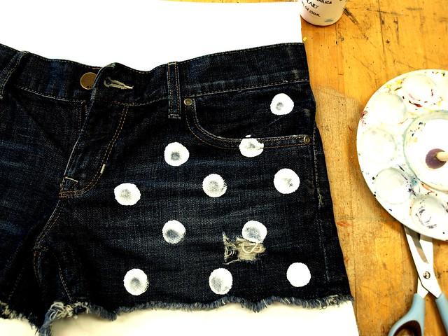 DIY polkadot jean shorts