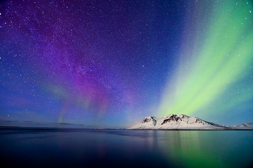 Mountain, Northern Lights and Milky Way