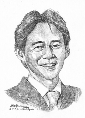 Pencil portrait for Chinese Swimming Club David Khoe - 4 (revised)