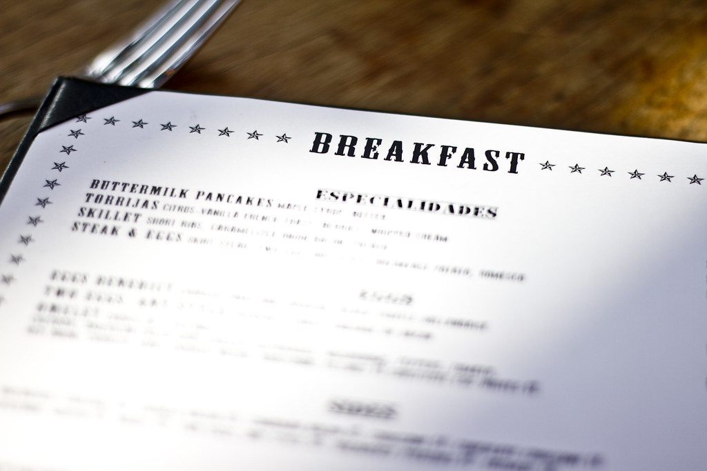 breakfast menu at the Tinto in Palm Springs