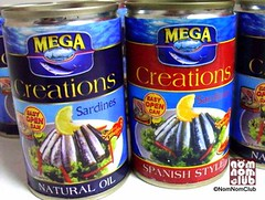 Mega Creations Premium Sardines (L-R, Natural Oil, Spanish Style)
