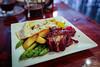 Hanger Steak, FIngerling Potatoes, Asparagus, Hollandaise, Fried Egg - Tin202