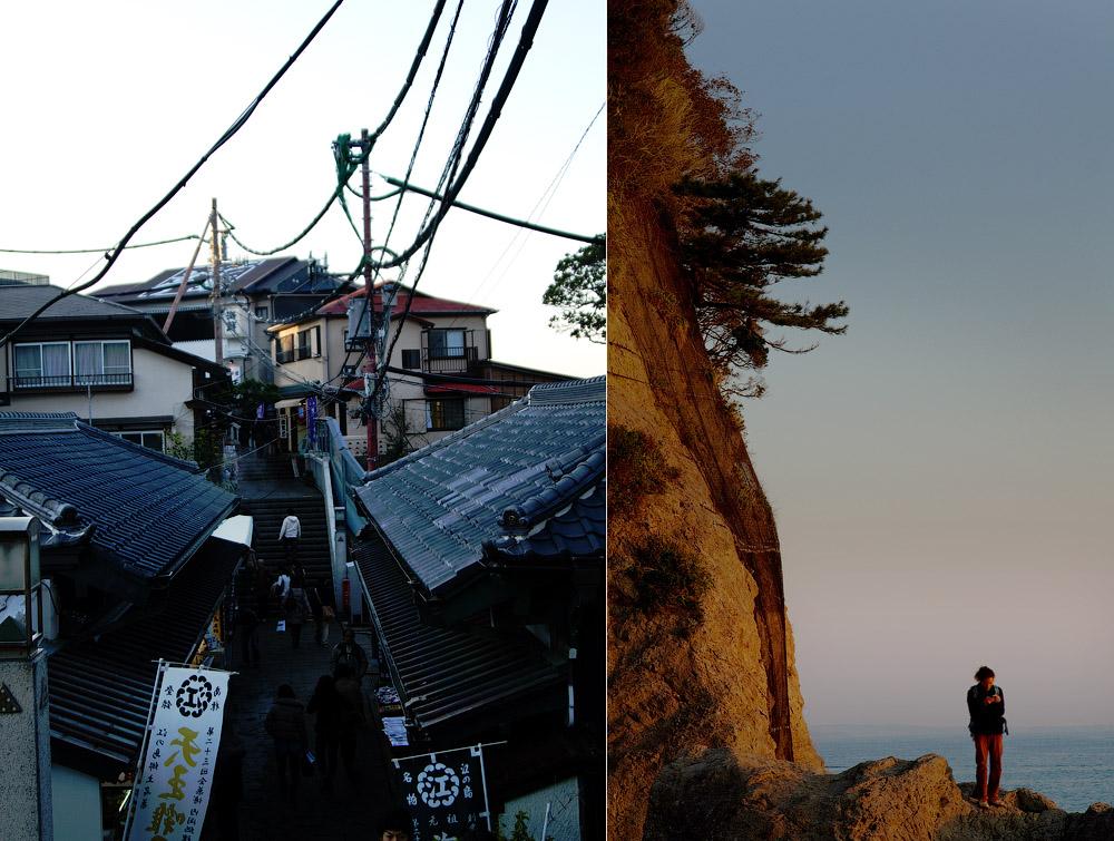 Enoshima street and the ocean