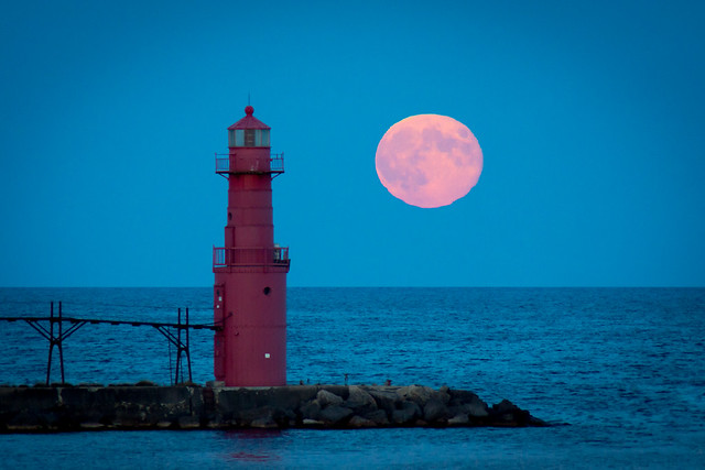 Moon Rise, Moonrise, Full Moon, Moon, Lighthouse, Algoma, Wisconsin, Lake Michigan