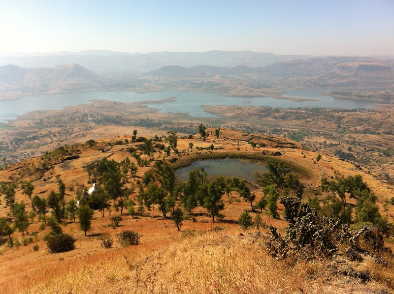 View from highest point of Hadsar fort - temple, pond and Manikdoh water reservoir