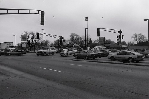 The southwest corner of South Archer and Harlem Avenues.  Summit Illinois.  March 1989. by Eddie from Chicago