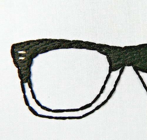 Nerdy Black Hipster Glasses. Embroidery Hoop Art. Hand Embroidered.