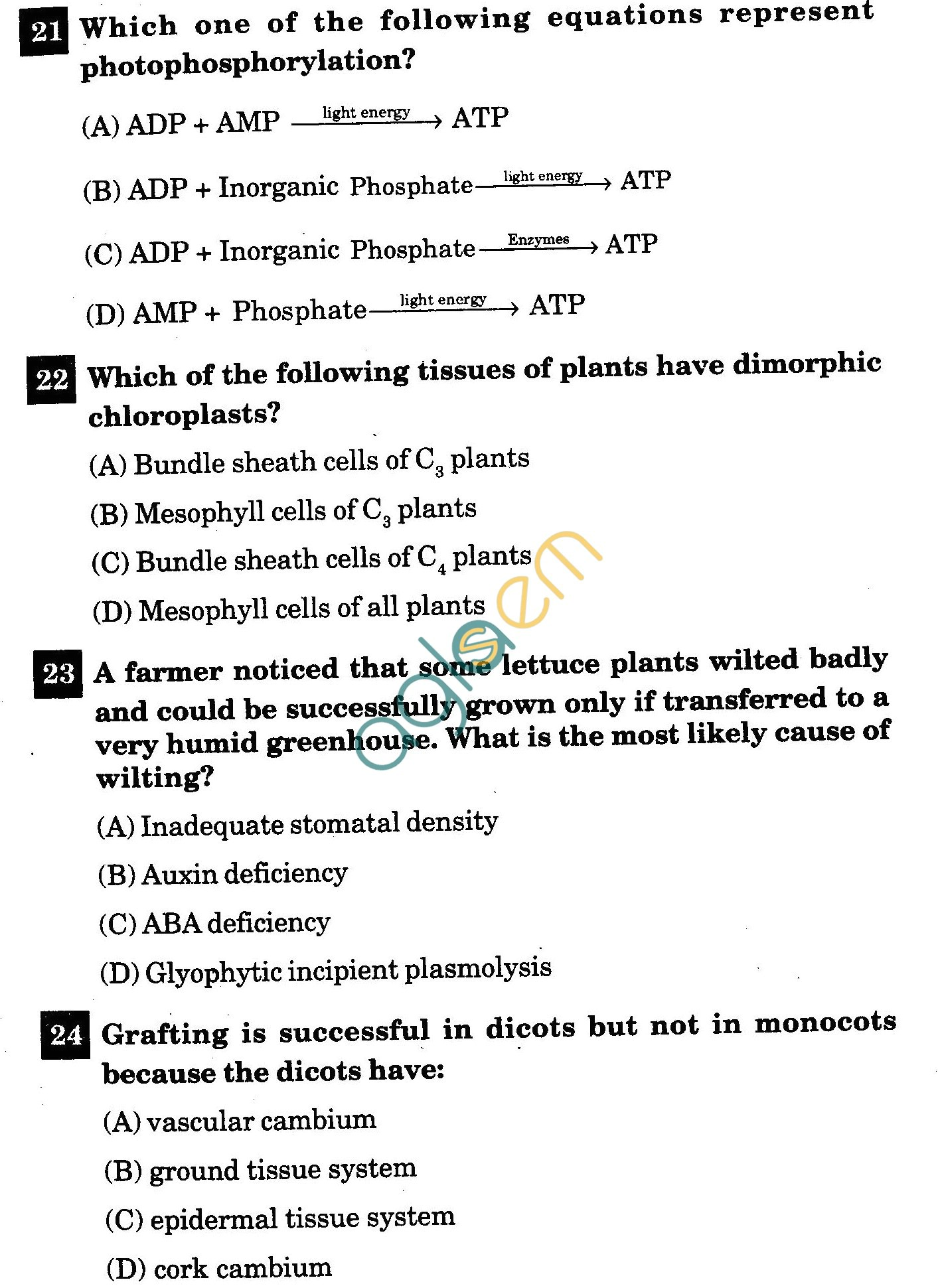 NSTSE 2011 Class XI PCB Question Paper with Answers - Biology