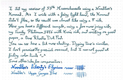 Ink Review : Noodler's 54th Massachussets, complement