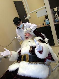 Santa Claus visiting Orange County Dentist