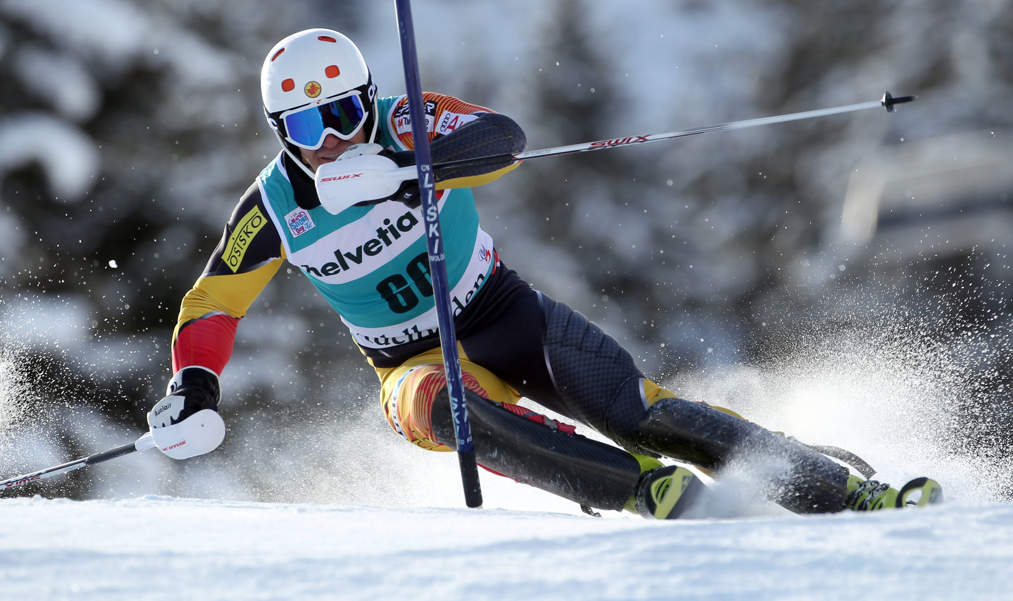 Sasha Zaitsoff in action in the men's slalom in Adelboden, Switzerland.
