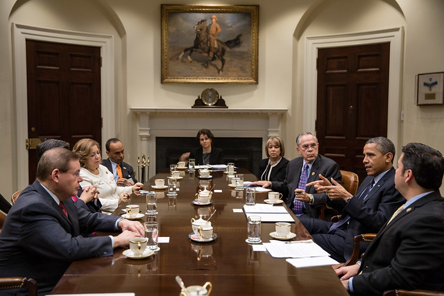 President Obama meets with members of the Congressional Hispanic Caucus. Image from the official White House flickr. Licensed as U.S. Government Work.