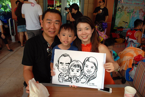 caricature live sketching for Mark Lee's daughter birthday party - 8