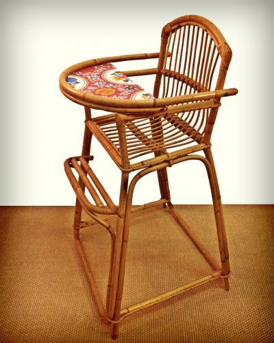 chaise haute en rotin