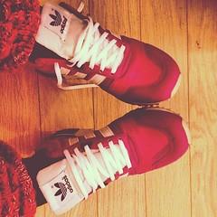 arm(0.0), limb(0.0), human body(0.0), magenta(1.0), sneakers(1.0), footwear(1.0), shoe(1.0), red(1.0), maroon(1.0), leg(1.0), sock(1.0), pink(1.0),