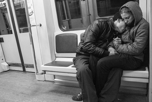 Pair in Moscow metro