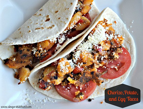 Chorizo, Potato, and Egg Tacos