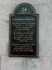 Photo of Atkinsons Carillon, James Atkinson, Edward Atkinson, and Atkinsons of London black plaque