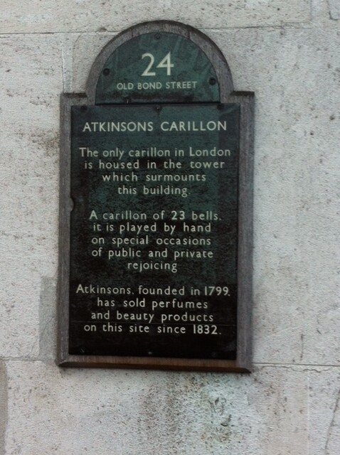 Photo of Atkinsons of London, Atkinsons Carillon, James Atkinson, and Edward Atkinson black plaque