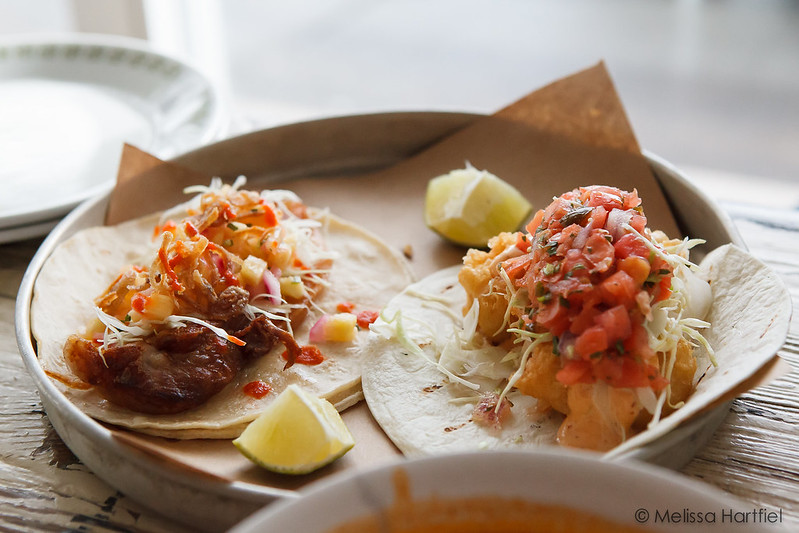 Fish taco and pork jowl taco