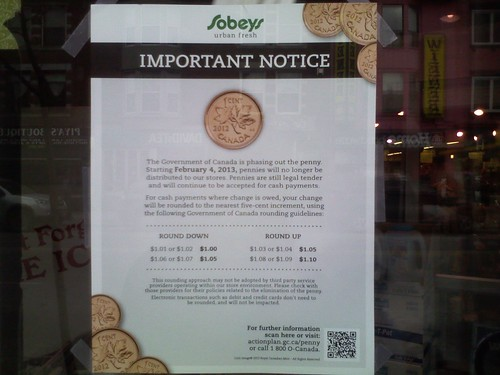 Seen on a final day of the Canadian penny