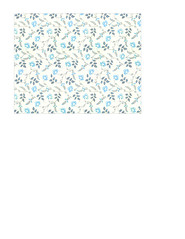 11c LIGHT antique blue painted wallpaper flowers LARGE SCALE - A2 card size LANDSCAPE or HORIZONTAL