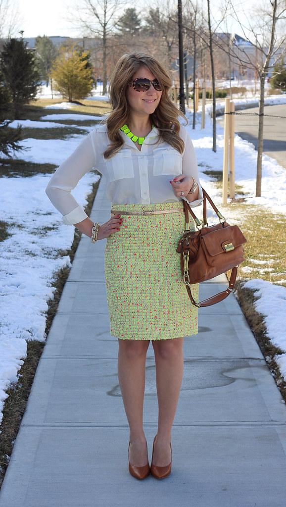 Neon Tweed Skirt J Crew Work Outfit