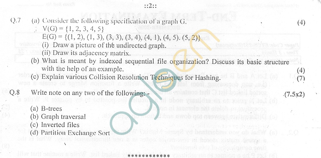 GGSIPU Question Papers Third Semester – End Term 2006 – ETCS-211