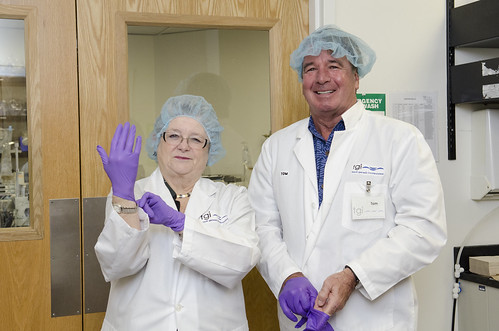 <p>University of Hawaii President M.R.C. Greenwood, left, puts on her laboratory gloves as she gets ready to tour Tissue Genesis with the company's Co-founder and Executive Vice President Thomas Cannon.</p>