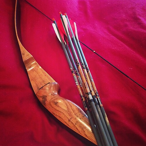 My new (to me) recurve bow and arrows.