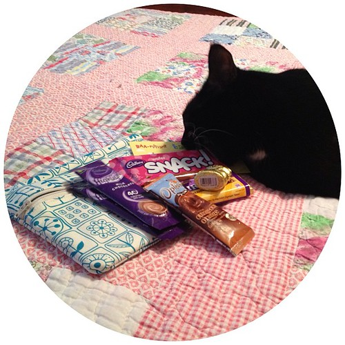 I'm going to have to fight my silly cat for all of the Cadbury goodness in my #sweetpouchswap gift! ☺☺☺ @sewdeliciousros
